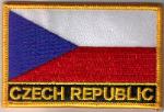 Czech Republic Embroidered Flag Patch, style 09.